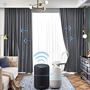 Graywind Motorized Blackout Curtain Set Smart Rod Remote Control Drapes Work with Alexa Google Home for Bedroom Office Living Room Ice Grey