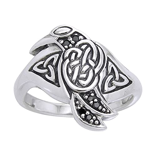 Celtic Raven Bird Sterling Silver Black Crystal Ring Sizes 5,6,7,8,9,10,11,12,13,14