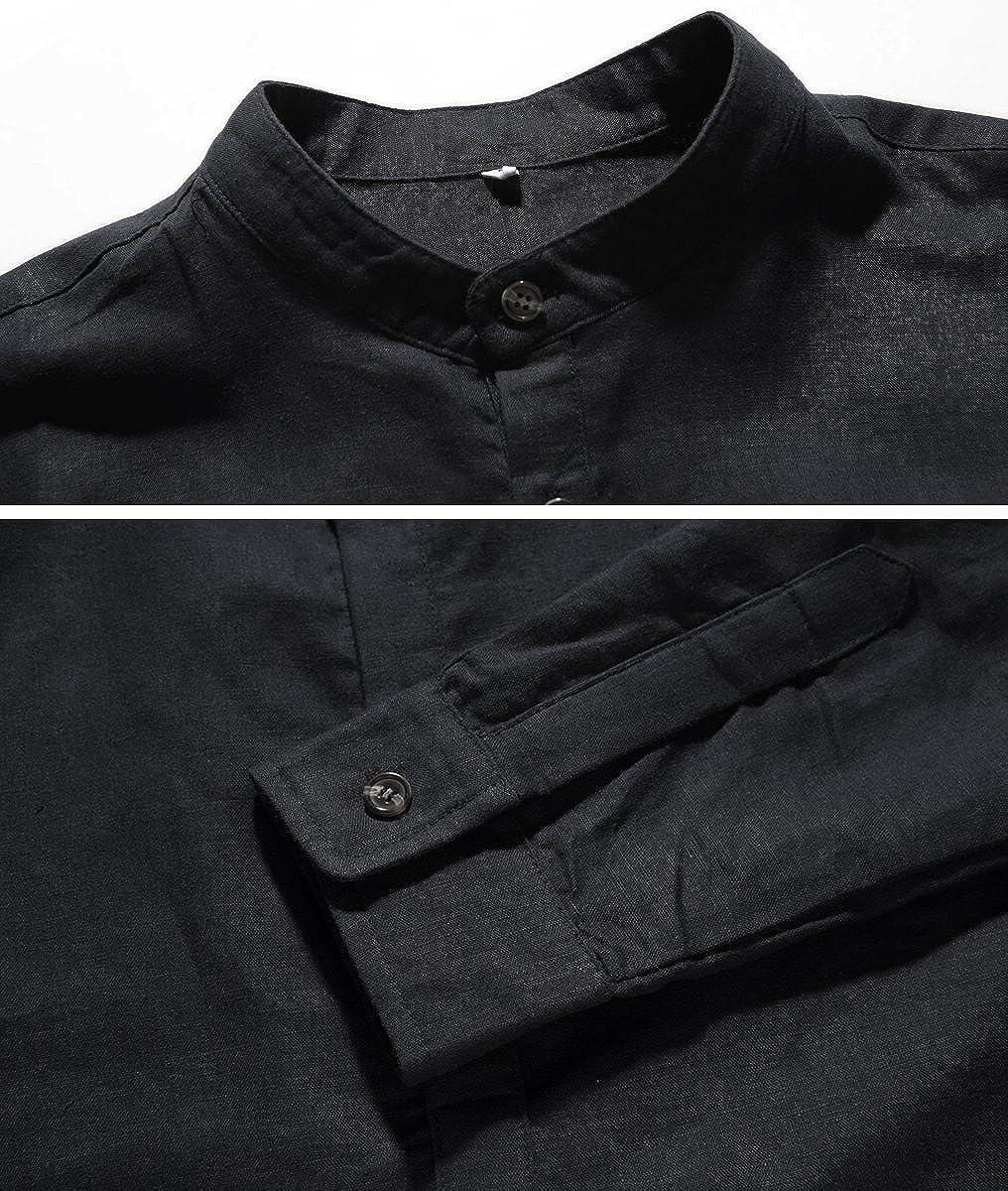 NITAGUT Men Henley Neck Long Sleeve Daily Look Linen Shirts