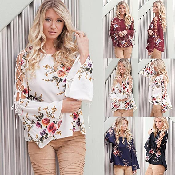Amazon.com: SMALLE ◕‿◕ Clearance,Women Floral Flare Sexy Cold Off Shoulder Long Sleeve Shirt Bandages Top Blouse: Clothing