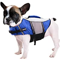Queenmore Dog Life Jacket Swimming Vest Lightweight High Reflective Pet Lifesaver with Lift Handle, Leash Ring