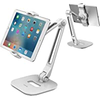 AboveTEK Long Arm Aluminum Tablet Stand, Folding iPad Stand with 360° Swivel iPhone Clamp Mount Holder, Fits 4-11…