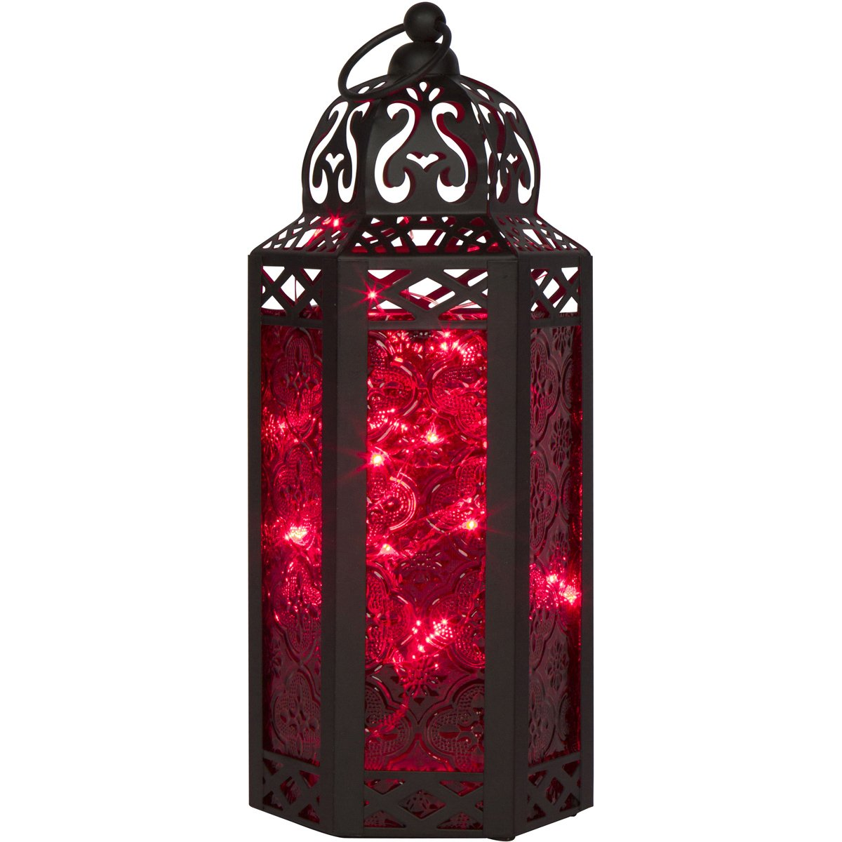 Red Glass Moroccan Style Lantern with optional matching LED Fairy String Lights