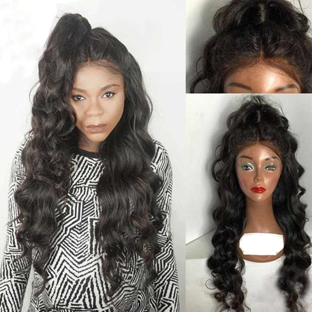 10951e395 Amazon.com : Human Hair Wigs 100% Real Hair Body Wave Brazilian Glueless  Cap Lace Front Wigs Full lace wig Curly 130 Density from Dream Beauty for  women : ...