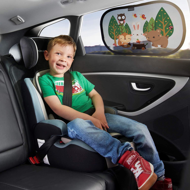 - Selbsthaftende Sonnenblenden f/ür Kinder mit s/ü/ßen Tier Motiven M/ärchen Systemoto Sonnenschutz Auto Baby mit Zertifiziertem UV Schutz 2er Set