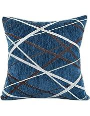 Jimmkey Plush Pillow Sofa Waist Throw Cushion Cover Home Decor Cushion Cover Case,Bedding,Silk Pillowcase,Bedding Sets,Faux Line Cushion Covers,Pillow Cases Pair Cushion Covers (Blue, 16.5X16.5)