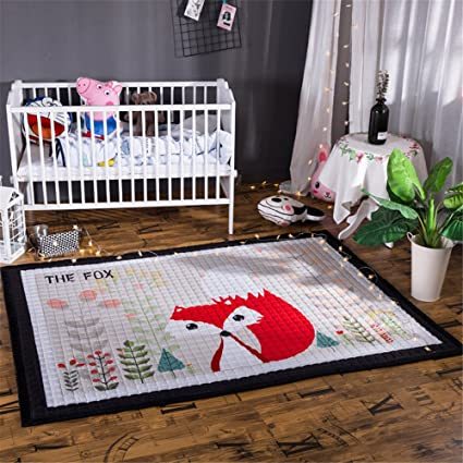 Amazon Com Fox Nursery Rug For Kid S Game Room Plush Play Crawling