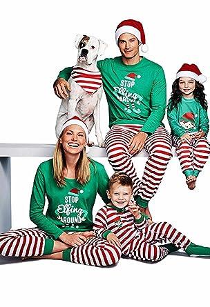 d7f45727e2 Bong Buy Family Holiday Stripe Sleepwear Leisure Wear Christmas Matching  Cute Two Piece Pajamas(dad