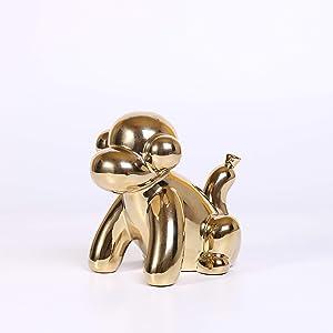 Ardax Gold Home Décor Balloon Figurine Accent, Small Ceramic Animal Statue Handmade Sculpture Ornament (Monkey)