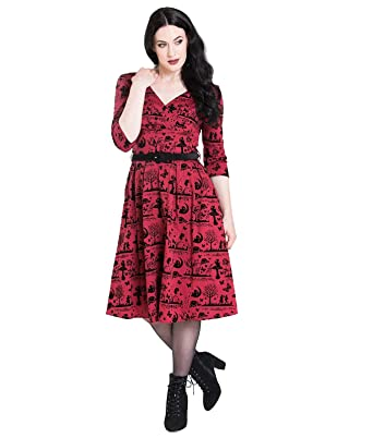 1d4b24272d8ae9 Hell Bunny Damen Kleid Anderson Vintage Flock Swing Dress (XS,  Bordeauxrot/Schwarz)