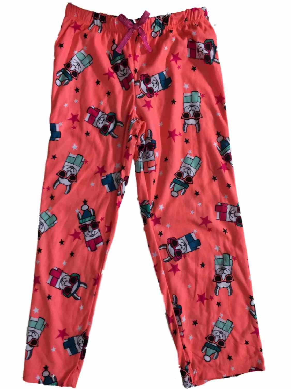 Girls Neon Coral Pink Llama Sleep Pant Star & Sunglasses Pajama Bottoms