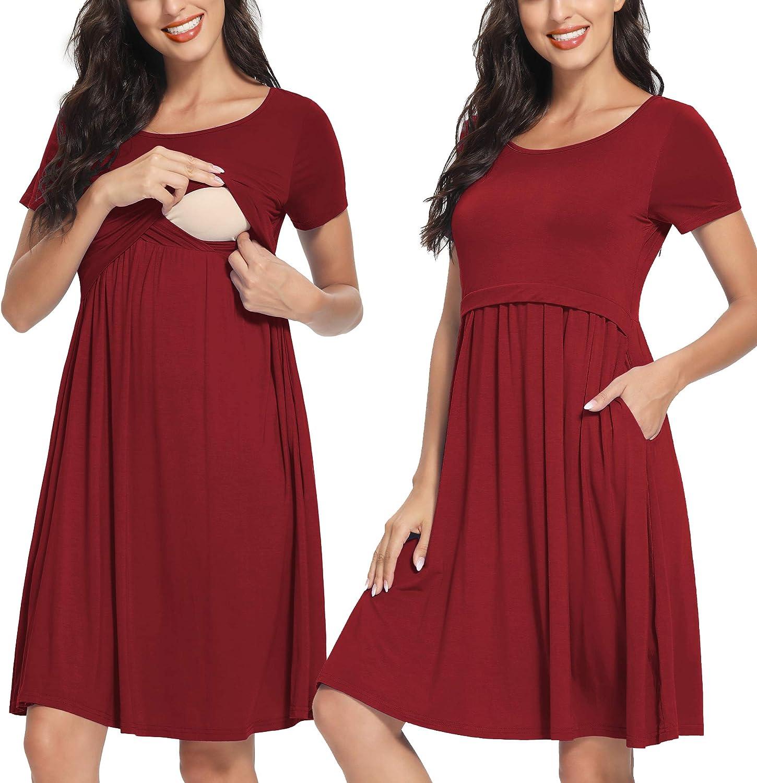 AMPOSH Womens Nursing Dress Striped Maternity Tank Dress Breastfeeding Clothes with Pockets
