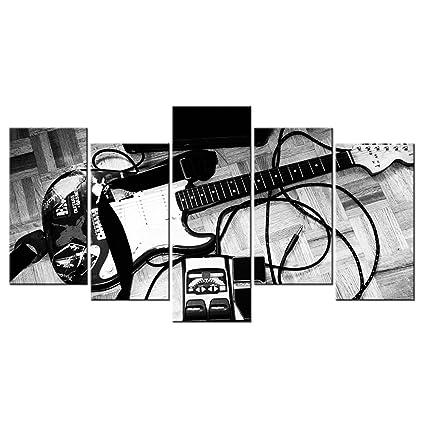 vvovv decoración de la pared – imagen en blanco y negro guitarra eléctrica lienzo pintura música