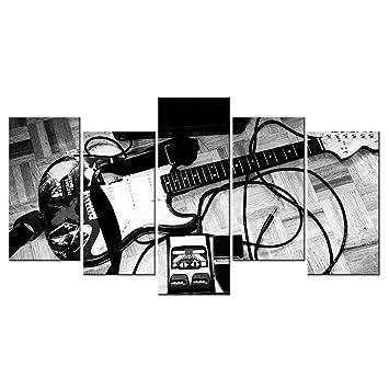 vvovv decoración de la pared - imagen en blanco y negro guitarra eléctrica lienzo pintura música arte decoración para dormitorio pared Mural decoración del ...