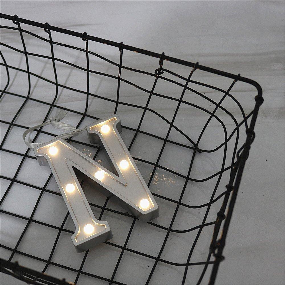LED Alphabet Silber Buchstaben Lichter Festzelt Licht Zeichen Batteriebetrieben f/ür Geburtstag Party Hochzeit Empf/änge Holiday Home Baby Bath Bridal Shower Bar Decor S