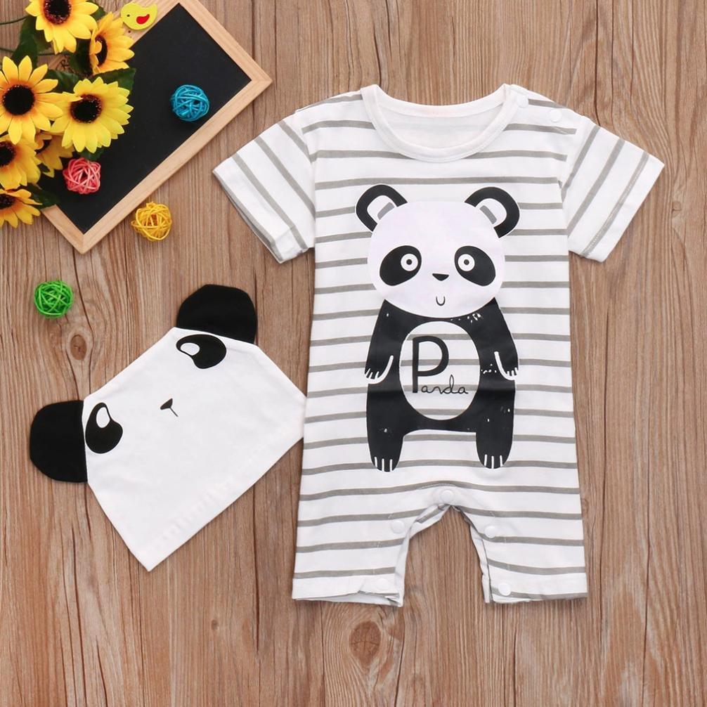 Bonjouree 2pc Barboteuse Chapeaux Bebe Garcon Ete Combinaison Manches Courtes Panda Imprim/é Ensemble V/êtements de Bebe Fille 0-24 Mois