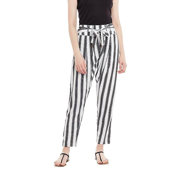0e27d6a1acb PANIT Women s Crepe Striped Cigarette Trouser Black   White  Amazon ...