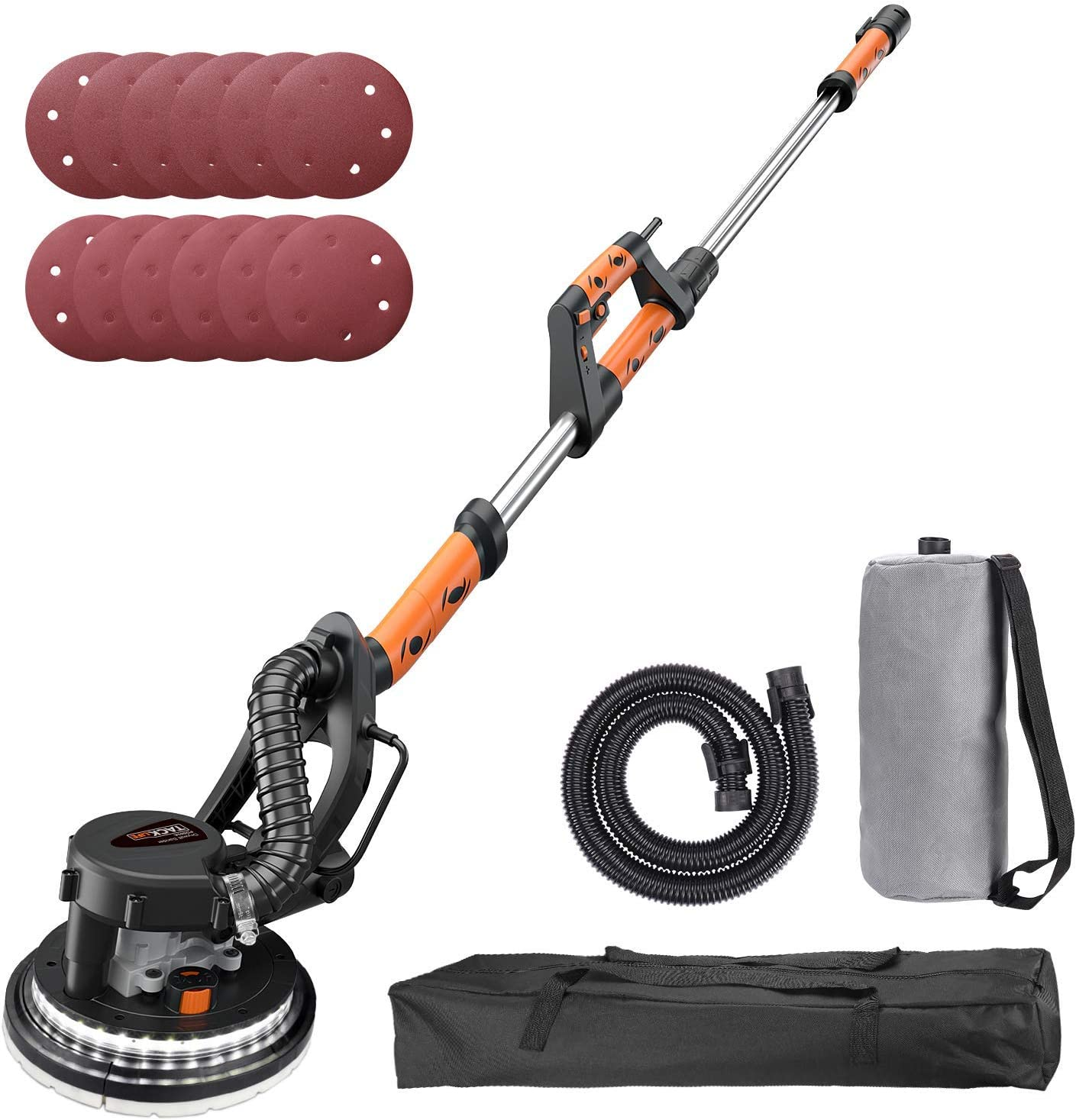 TACKLIFE Drywall Sander, 6.7A 800W , Automatic Vacuum System, 12 Sanding Discs, Variable Speed 500-1800 RPM Electric Drywall Sander with LED Light and a Carry Bag, Extendable Handle 1.6-1.9m PDS03A