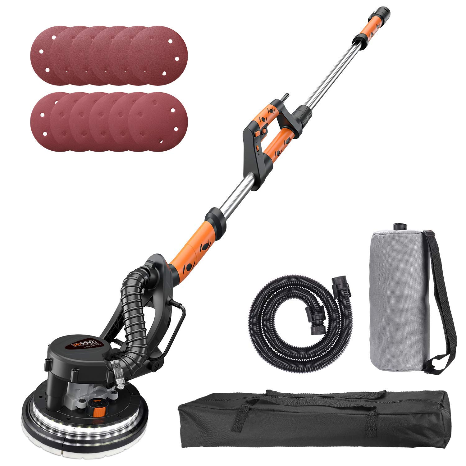 TACKLIFE Drywall Sander, 6.7A(800W), Automatic Vacuum System, 12 Sanding Discs, Variable Speed 500-1800 RPM Electric Drywall Sander with LED Light and a Carry Bag, Extendable Handle 1.6-1.9m PDS03A by TACKLIFE
