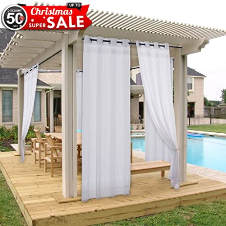 Outdoor Curtain And Drapery Panel For Patio   NICETOWN All Season Fade  Resistant Grommet Top Indoor