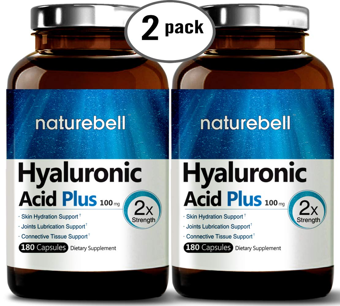 Maximum Strength Hyaluronic Acid Capsules,100mg,180 Counts, Powerfully Supports Antioxidant, Skin Hydration & Joints Lubrication. Non-GMO and Made in USA. (2 Pack)