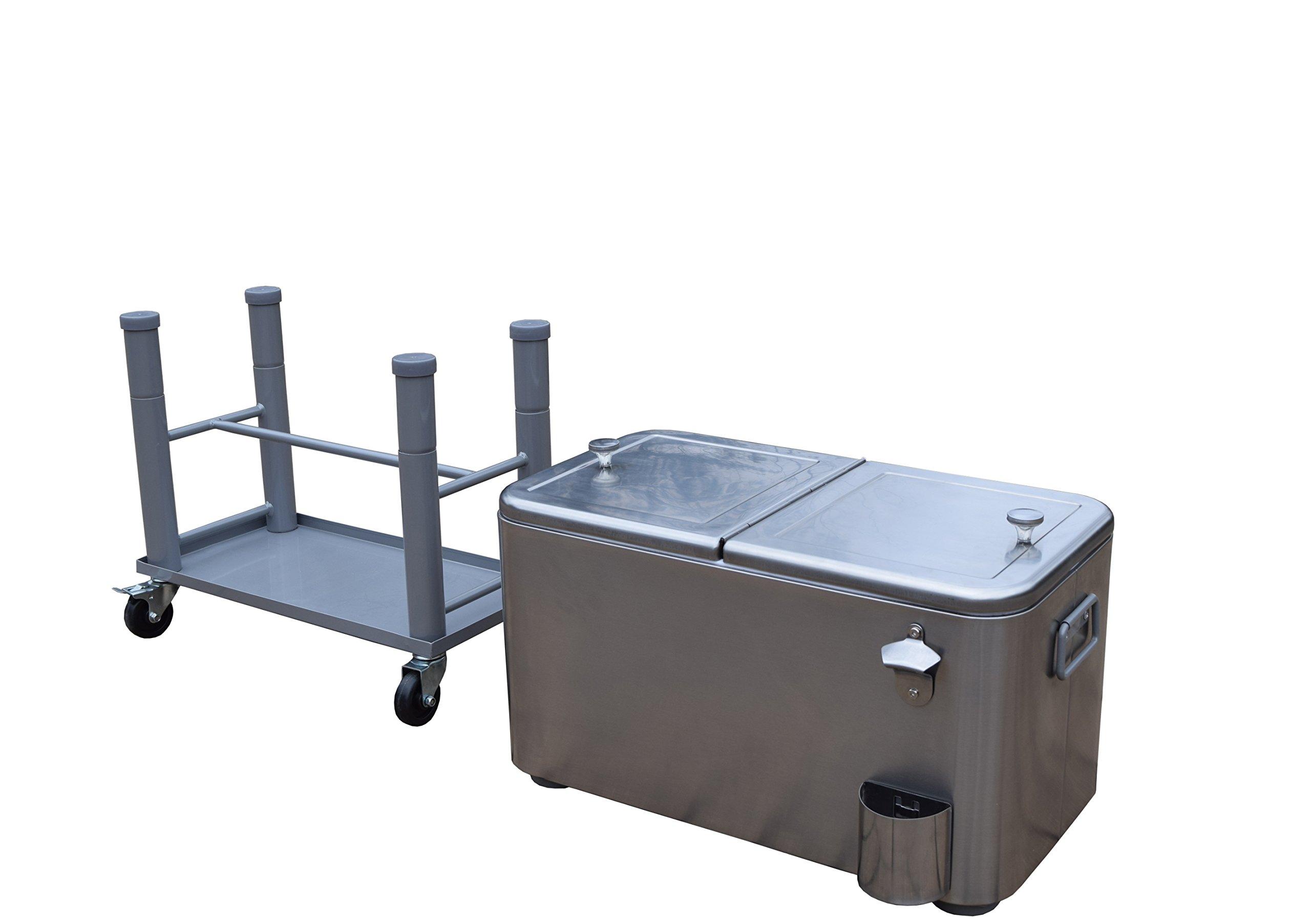 Oakland Living AZ91008-60-SS Stainless Steel 15 Gallon Cart Outdoor Cooler with Wheels, Medium