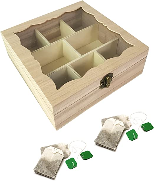 XL 8 compartimentos caja caja para bolsitas bolsas de té de té Bolsas de té – Caja de té Madera Con dekorativem Cristal Ventana Natural B20 X L20 X H7 cm: Amazon.es: