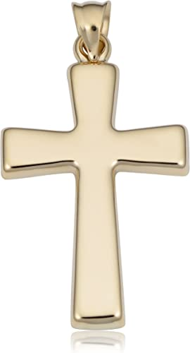 Amazon Com Kooljewelry Men S Or Women S 14k Yellow Gold Cross