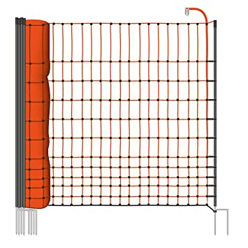 VOSS farming Electric fence netting for poultry and chicken, poultry  netting, height 112 cm, length 25 m, 9 black posts, 2 spikes, orange