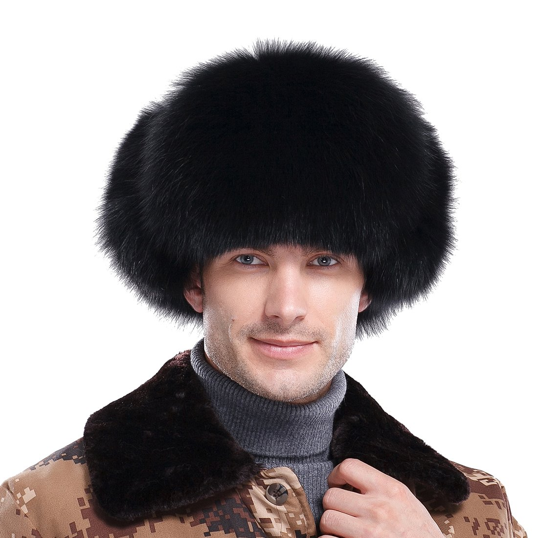 URSFUR Men's Black Fox Fur & Leather Trapper Hats