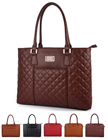 Amazon.com: Laptop Tote Bag,Women PU Leather Quilted Shockproof ... : quilted laptop tote - Adamdwight.com