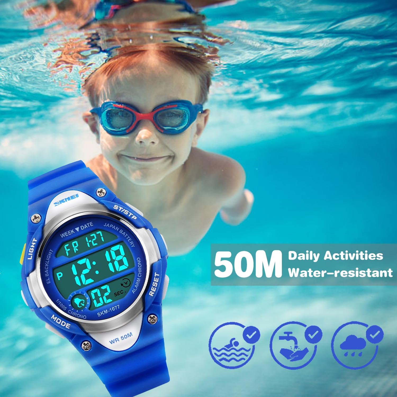 Boys Sport Digital Watch, Kids Outdoor Waterproof Electronic Watches with LED Alarm Stopwatch - Blue by cofuo (Image #5)