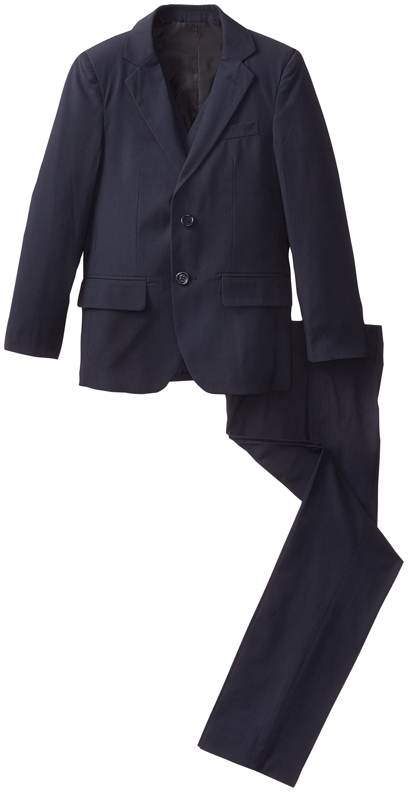 American Exchange Big Boys' Self Stripe 3-Piece Suit, Navy, 18