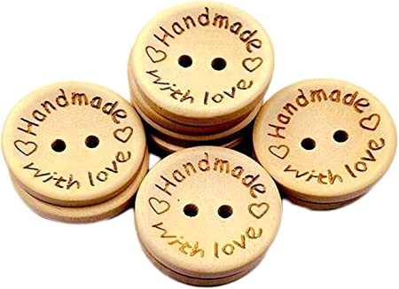 Numblartd Pack of 100 Pcs 2 Holes Round Wooden Buttons - DIY Handmade Decor Craft for Sewing Scrapbooking Clothes Accessories (25mm / 1