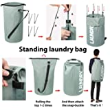 ZERO JET LAG Extra Large Laundry Hamper Collapsible Laundry Basket College Essentials Storage Tall Clothes Hamper Bag Waterproof Standing Laundry Bin Heavy Duty Laundry Liners