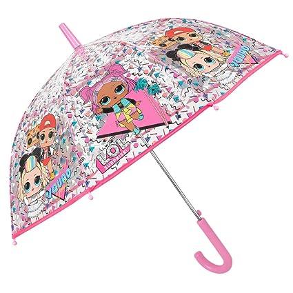 Paraguas Transparente LOL Surprise Niña - Paraguas Infantil Cupula Burbuja Rosa MC Swag VRQT 80s BB - Antiviento Resistente de Fibra de Vidrio ...