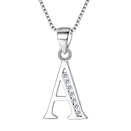 Letter Necklace 925 Sterling Silver Cubic Zirconia Alphabet Initial Pendant Necklace For Women Personalised Gifts 18'' YXo1bNR