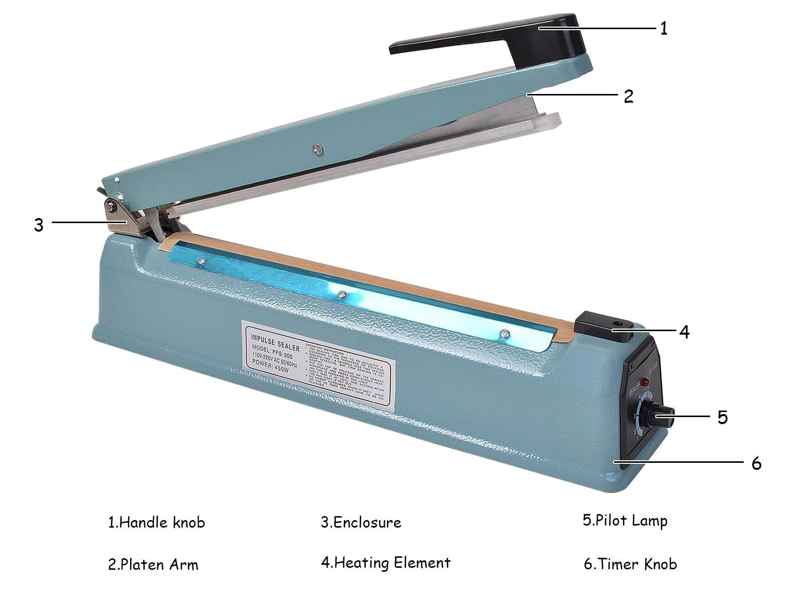 Super buy 12'' Heat Sealing Hand Impulse Sealer Machine Poly Free Element Grip& Teflon by Goplus (Image #5)