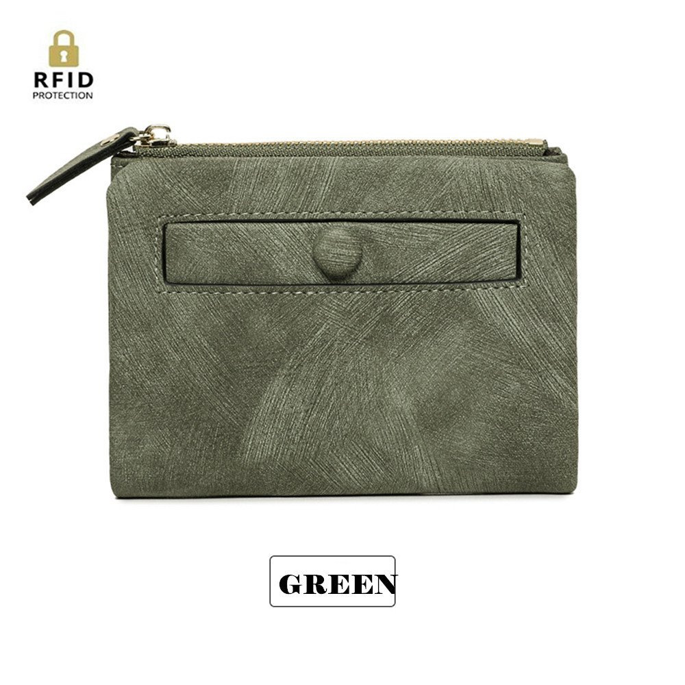 Cute Leather Short Wallet with Zipper Coin Pocket Cash Card Holder Button Purse for Women Lady Girls (#2-Green)