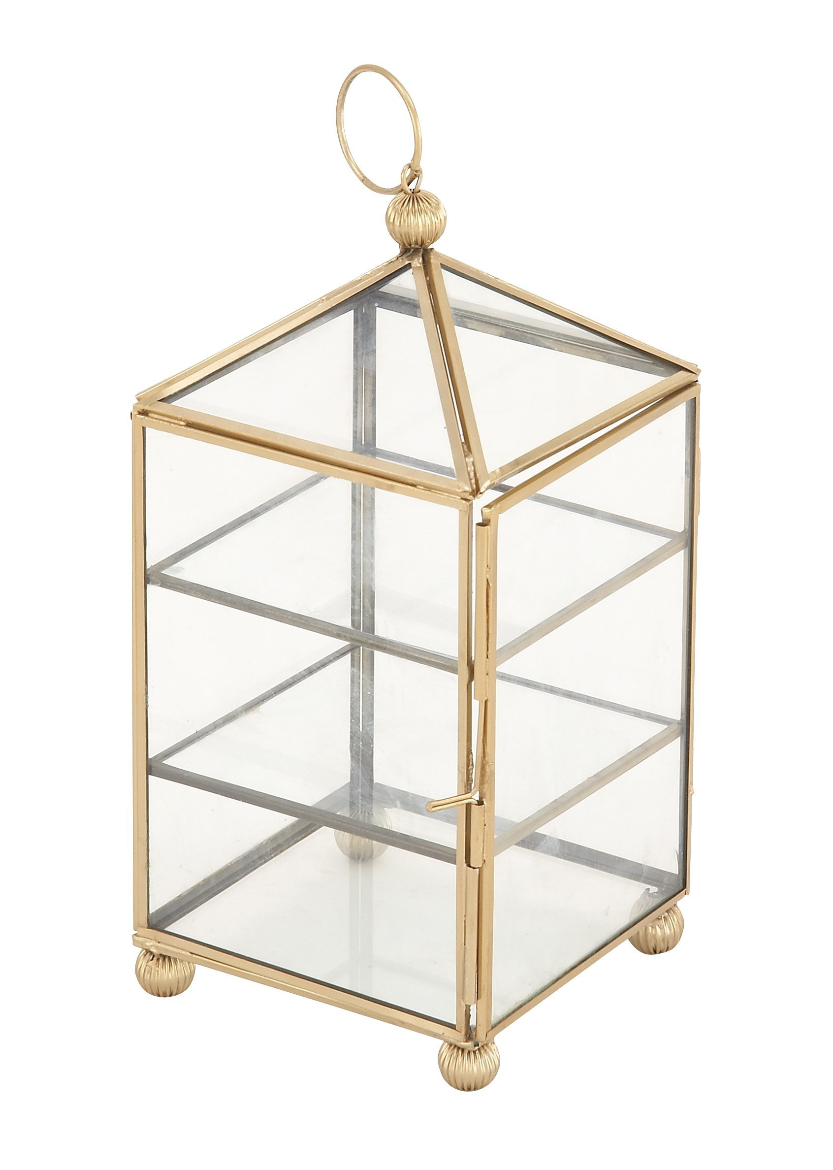 Deco 79 54290 Pyramid-Shaped Iron and Glass Jewelry Box, 11'' x 5'', Gold