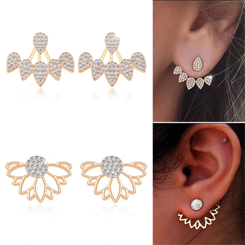 Gleamart Hollow Lotus Flower Earrings Water Drop Ear Jacket Chic Stud Earrings Set GMeu-ljearringsset-fs00050-gl
