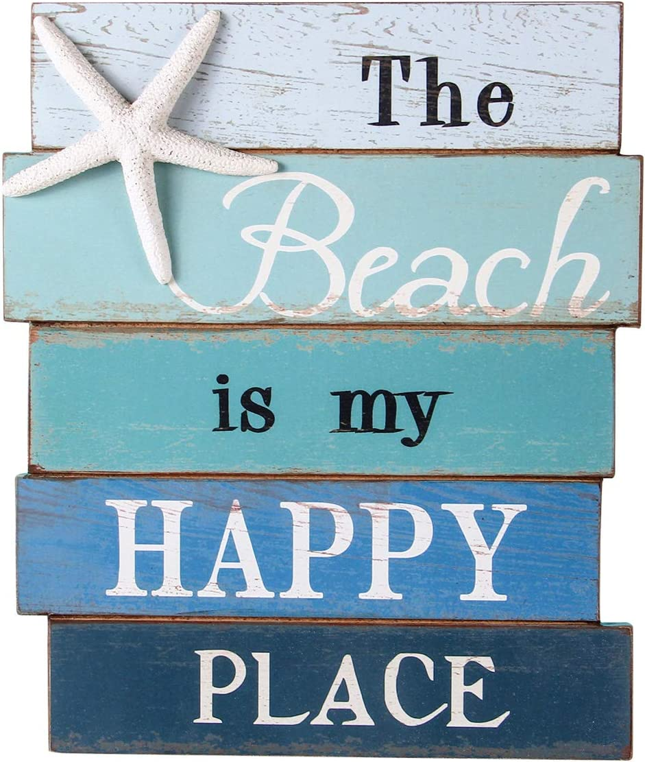 NIKKY HOME Beach Wall Ornament, Wooden Starfish Hanging Decoration, Ocean Home Decor for Bathroom, Bedroom or Living Room, Rustic Coastal Art - The Beach is My Happy Place