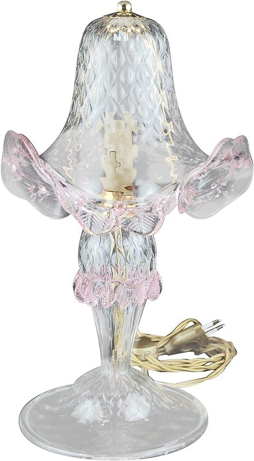 Lampada Da Tavolo Abat Jour In Vetro Di Murano Colore Trasparente E Finiture Rosa Amazon It Illuminazione