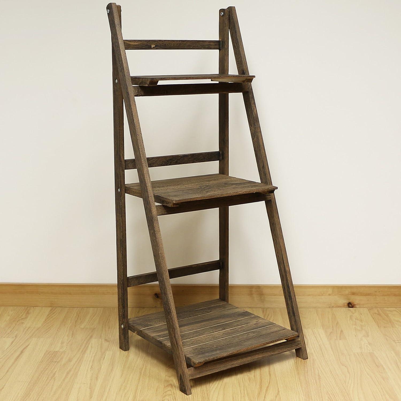 costellohq 3 tier brown ladder shelf display unit folding book