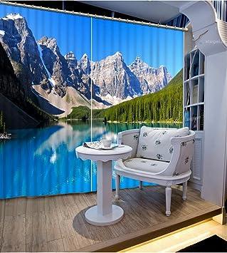 Chlwx Malerei Wohnzimmer Vorhänge Eisberg Seenlandschaft Küche Gardinen  Moderne Gardinen Für Das Schlafzimmer Fenster Einrichtung 260cmX240cm
