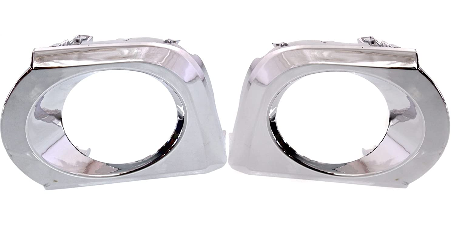 DAT 10-13 TOYOTA 4RUNNER FOR USE ON LIMITED AND SR5 BUMPERS WITH CHROME TRIM CHROME FOG LAMP MOLDING SET OF TWO LEFT DRIVER RIGHT PASSENGER SIDE PAIR TO1038134 TO1039134 DAT AUTO PARTS
