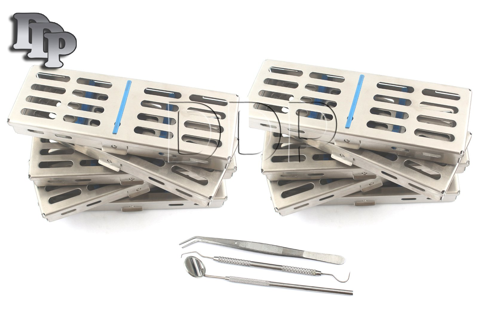 DDP NEW SET OF 10 EACH GERMAN GRADE DENTAL AUTOCLAVE STERILIZATION CASSETTE RACK BOX TRAY FOR 5 INSTRUMENT+3 PIECE DENTAL SET FREE