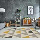The Rug House Milan Ocre Amarillo Mostaza Gris Beige con triángulos arlequín Tradicional Alfombra de salón 80cm x 150cm