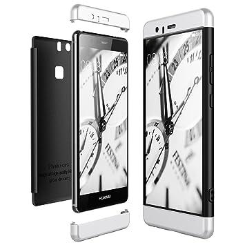 CE-Link Funda Huawei P9, Carcasa Fundas para Huawei P9, 3 en 1 Desmontable Ultra-Delgado Anti-Arañazos Case Protectora - Plata + Negro