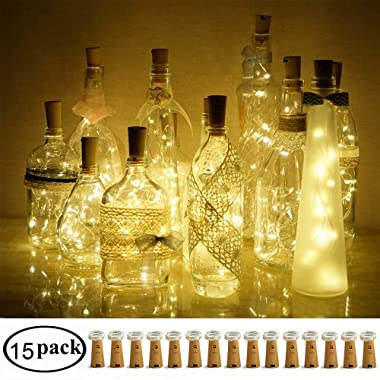 Decem Wine Bottle Cork Lights, 15 Pack 10 LED Warm White Cork Shape Silver Copper Wire LED Starry Fairy Mini String Lights for DIY/Decor/Party/Wedding/Christmas/Halloween (Warm White)